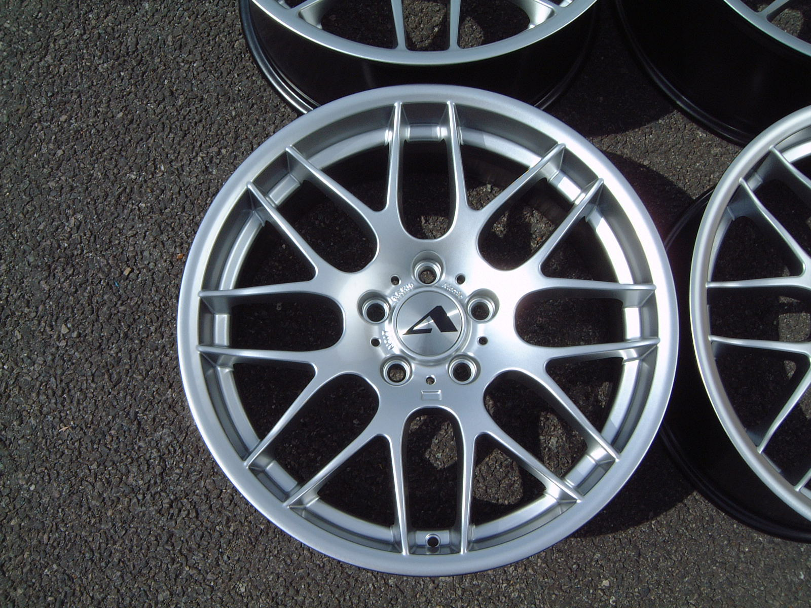 "NEW 19"" ATOMIC CSL ALLOY WHEELS IN HYPER SILVER, WITH VERY DEEP CONCAVE 9.5"" ET33 REAR**VERY RARE FITMENT**"